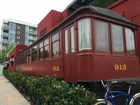 Former Pacific Car Red Car Trolley at the Formosa Cafe, rehabilitated in 2019