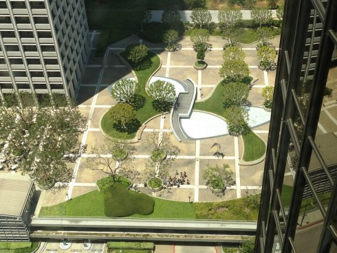 Aerial view of plaza at Union Bank Square. 2013.